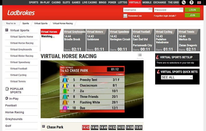 Virtual horse racing at Ladbrokes