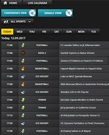 The upcoming schedule shown in LV BET live calender