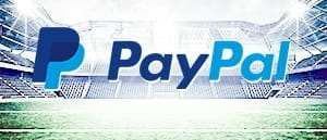 The PayPal logo with a football arena in the background