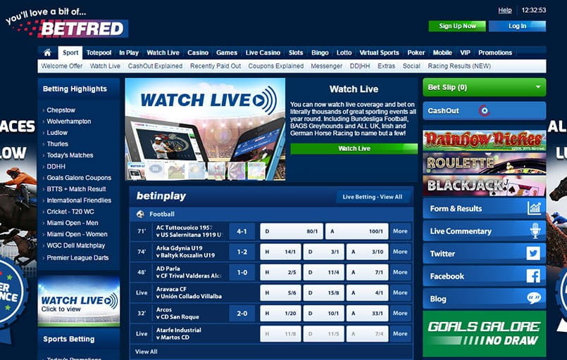 The front page at Betfred