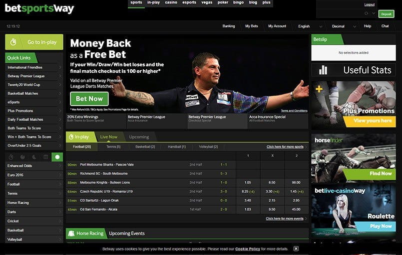 The front page at Betway