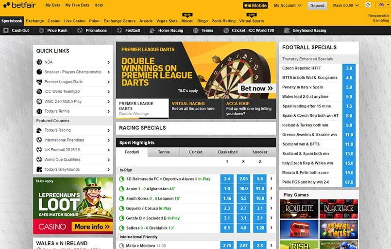 The front page at Betfair