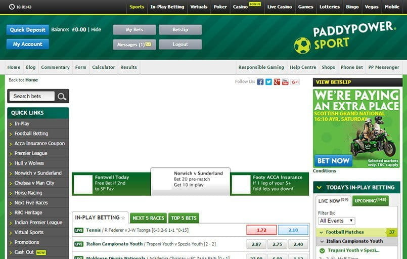 The front page at Paddy Power