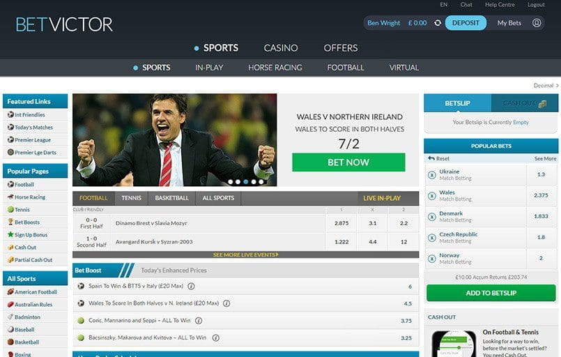The front page at Betvictor