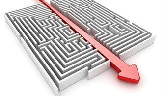 A maze and a straight arrow that crosses through it