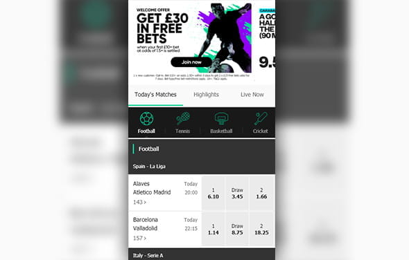 The home page of the MoPlay Windows Phone betting app