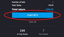 The 'Place Bets' button on the bet slip