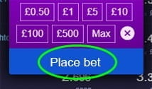 MustardBet confirmation of the bet page with place bet circled