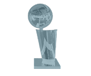 An award-style emblem showing the NBA champions trophy
