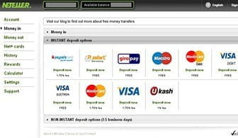 The bank card registration form to attach your bank card to your Neteller credentials