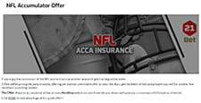 An image advertising the NFL accumulator offer by showing someone engaging in an American football match