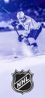 Ice hockey player and the logo of the NHL