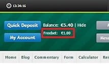 Free bet balance is clearly displayed