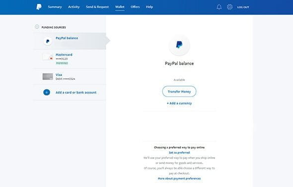 The PayPal card linking to your account confirmation