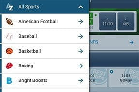 Sports options on the BetBright sportsbook