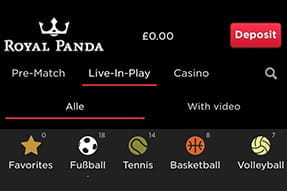 Sports options on the royal panda sportsbook