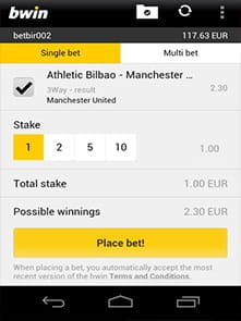placing a bet on bwin mobile