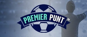 The Premier Punt logo in front of a football player