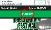 QuinnBet confirm the selection with a red circle around the place bets box