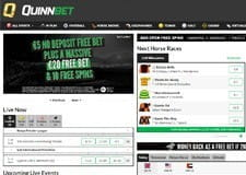 The QuinnBet homepage from their website