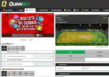 The QuinnBet live betting page from their website