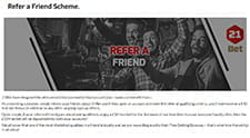 An image advertising the refer a friend scheme, which shows some friends all having a great time together