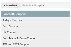 Availiable competitions within the football coupon on the Blacktype.bet mobile sportsbook