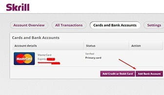 The bank card registration form to attach your bank card to your Skrill credentials