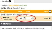 A stake being wagered on the latest football page on the Betdaq page