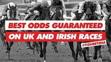 The Sun Bets Best Odds Guaranteed promotion featuring horses taking place in a race