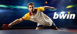Table tennis player and a Bwin logo