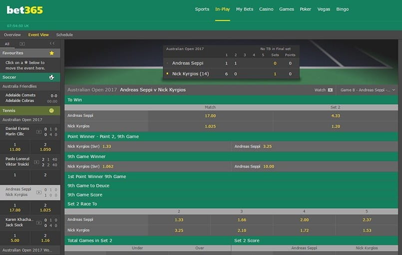 live tennis betting at bet365