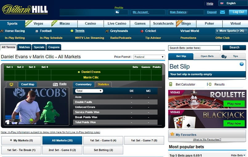 live betting on tennis with william hill