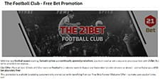 An image advertising the football club bet promotion with an image of a few people playing football and some text