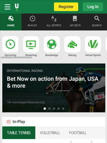 Unibet's home page of the app