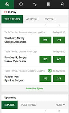 Unibet in-play on mobile