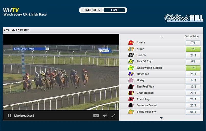 a view of a live horse racing stream at william hill