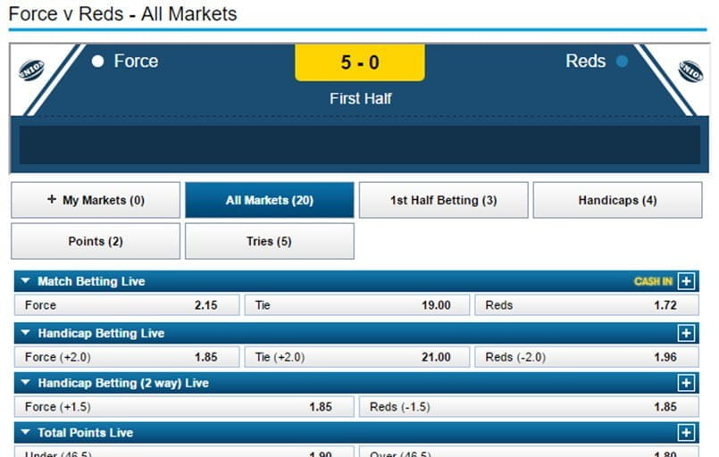 in-play betting at William Hill