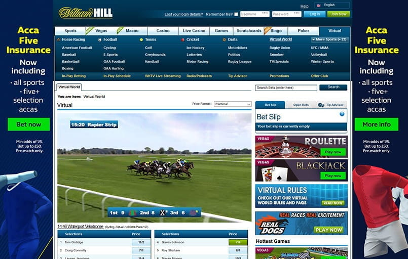 Virtual horse racing at WIlliam Hill