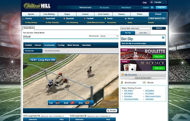 the virtual greyhounds arena at william hill
