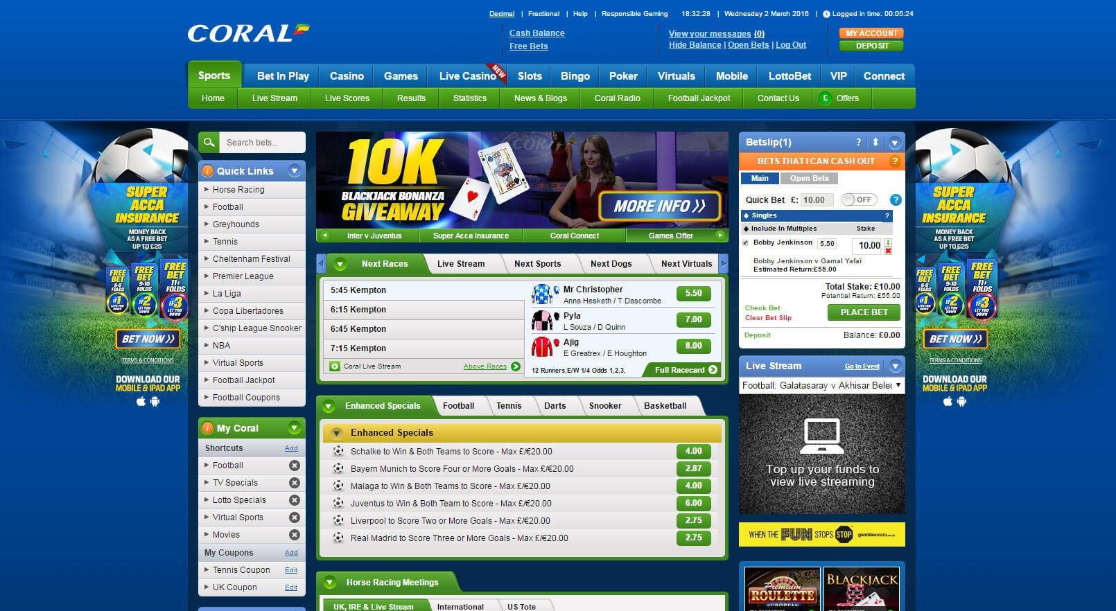 Coral Sportsbook Betting Bonus Review