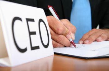 CEO sign on a desk.