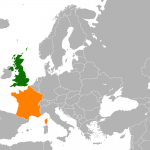UK and France on the map