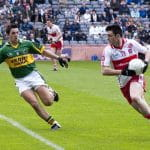 Kerry's Aidan O'Mahony and Derry's Eoin Bradley in action in the 2009 National League final