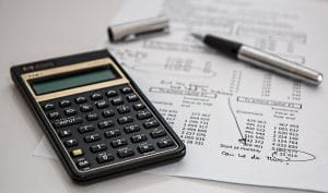 A calculator and financial report