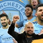 Manchester City celebrate winning the EPL in 2017/18