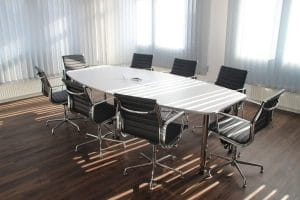A table in a meeting room