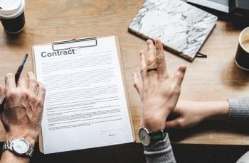 A contract on a table