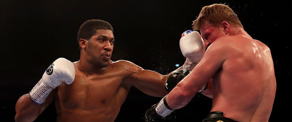 Anthony Joshua knocking out Povetkin