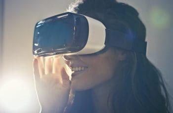 A woman using virtual reality goggles